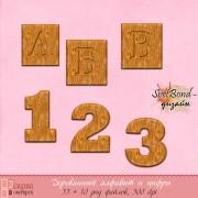 Деревянный алфавит и цифры