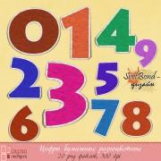 Цифры бумажные разноцветные